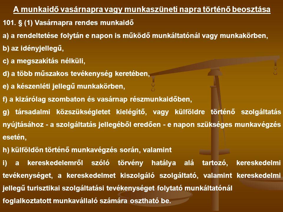A munkaidő vasárnapra vagy munkaszüneti napra történő beosztása 101. § (1) Vasárnapra rendes munkaidő a) a rendeltetése folytán e napon is működő munk