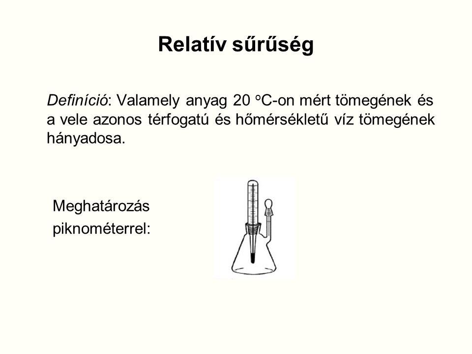 Relatív sűrűség Definíció: Valamely anyag 20 o C-on mért tömegének és a vele azonos térfogatú és hőmérsékletű víz tömegének hányadosa.
