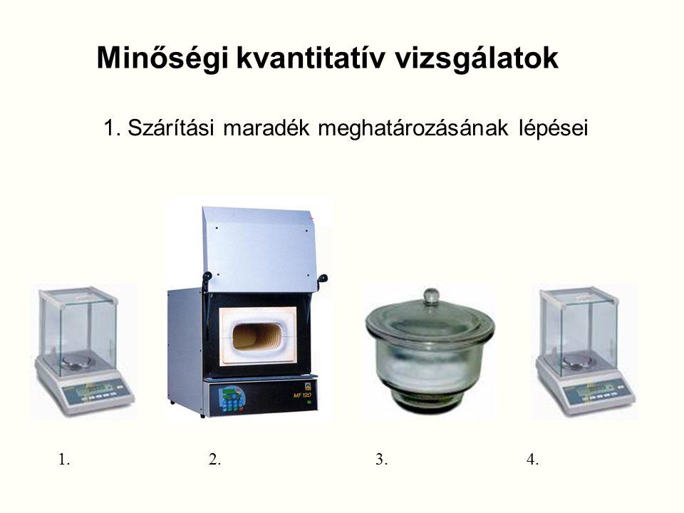 1. Szárítási maradék meghatározásának lépései 1.2.3.4. Minőségi kvantitatív vizsgálatok
