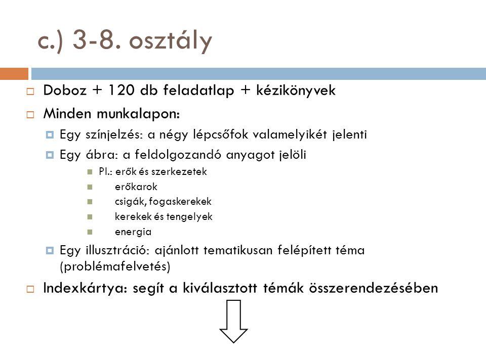c.) 3-8. osztály  Doboz + 120 db feladatlap + kézikönyvek  Minden munkalapon:  Egy színjelzés: a négy lépcsőfok valamelyikét jelenti  Egy ábra: a