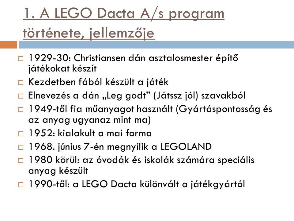 1. A LEGO Dacta A/s program története, jellemzője  1929-30: Christiansen dán asztalosmester építő játékokat készít  Kezdetben fából készült a játék