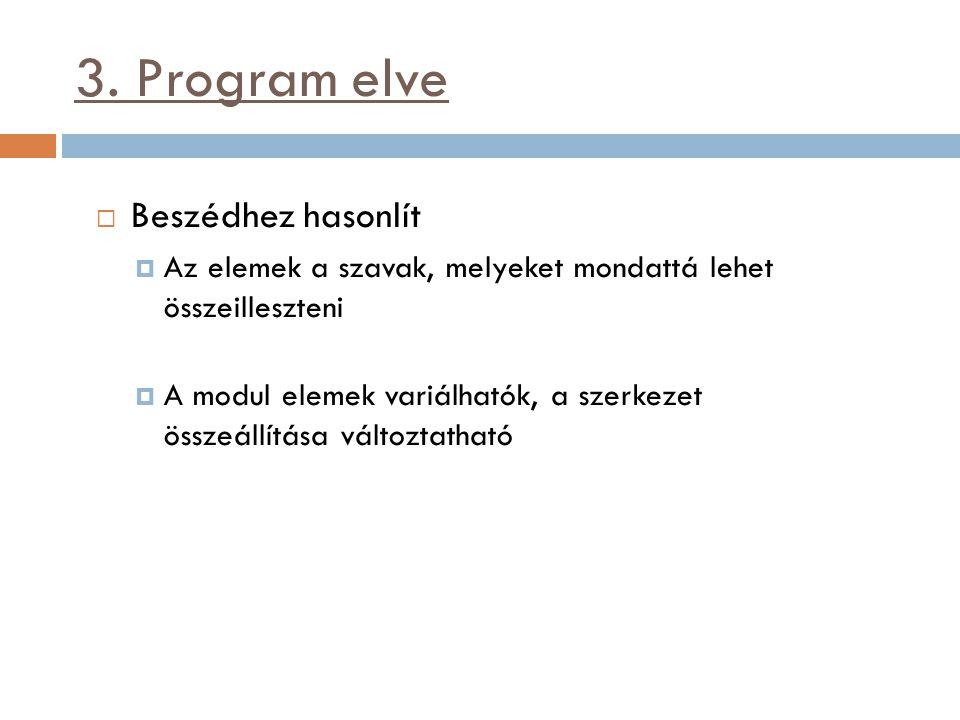 3. Program elve  Beszédhez hasonlít  Az elemek a szavak, melyeket mondattá lehet összeilleszteni  A modul elemek variálhatók, a szerkezet összeállí