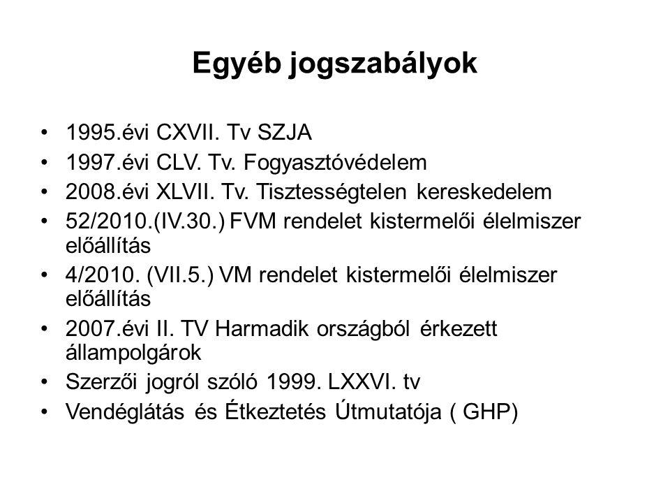 Egyéb jogszabályok 1995.évi CXVII. Tv SZJA 1997.évi CLV. Tv. Fogyasztóvédelem 2008.évi XLVII. Tv. Tisztességtelen kereskedelem 52/2010.(IV.30.) FVM re