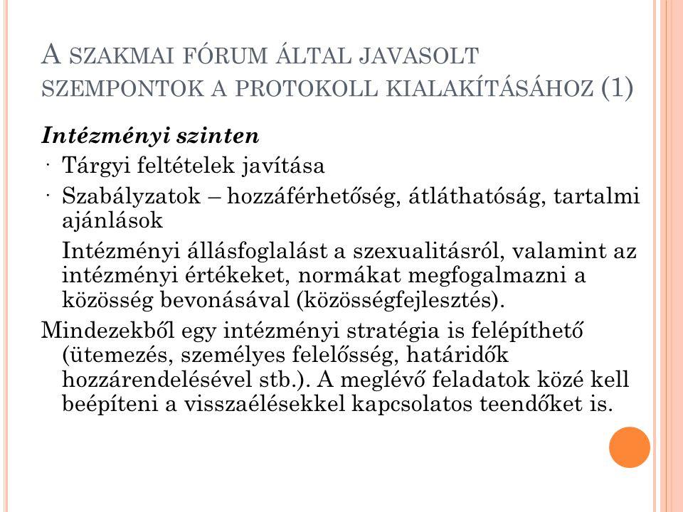 A SZAKMAI FÓRUM ÁLTAL JAVASOLT SZEMPONTOK A PROTOKOLL KIALAKÍTÁSÁHOZ (1) Intézményi szinten ·Tárgyi feltételek javítása ·Szabályzatok – hozzáférhetőség, átláthatóság, tartalmi ajánlások Intézményi állásfoglalást a szexualitásról, valamint az intézményi értékeket, normákat megfogalmazni a közösség bevonásával (közösségfejlesztés).