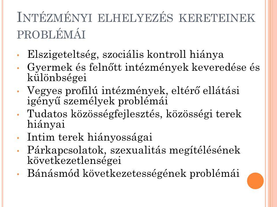 A Z INTÉZMÉNYI ELHELYEZÉS SZEMÉLYI FELTÉTELEINEK PROBLÉMÁI Alacsony presztízsű, rosszul fizetett munkakörök Túlterheltség Kiszolgáltatottság Szakmai tudatosság, team munka, esetmegbeszélések, szupervízió hiánya Bánásmód, esetkezelés következetlenségei, eszköztelenség (direkt irányítás helyett önállóság) Munkakörök, kompetenciák, felelősség pontatlan meghatározása Kiválasztás, szűrés, ellenőrzés, képzés hiányosságai