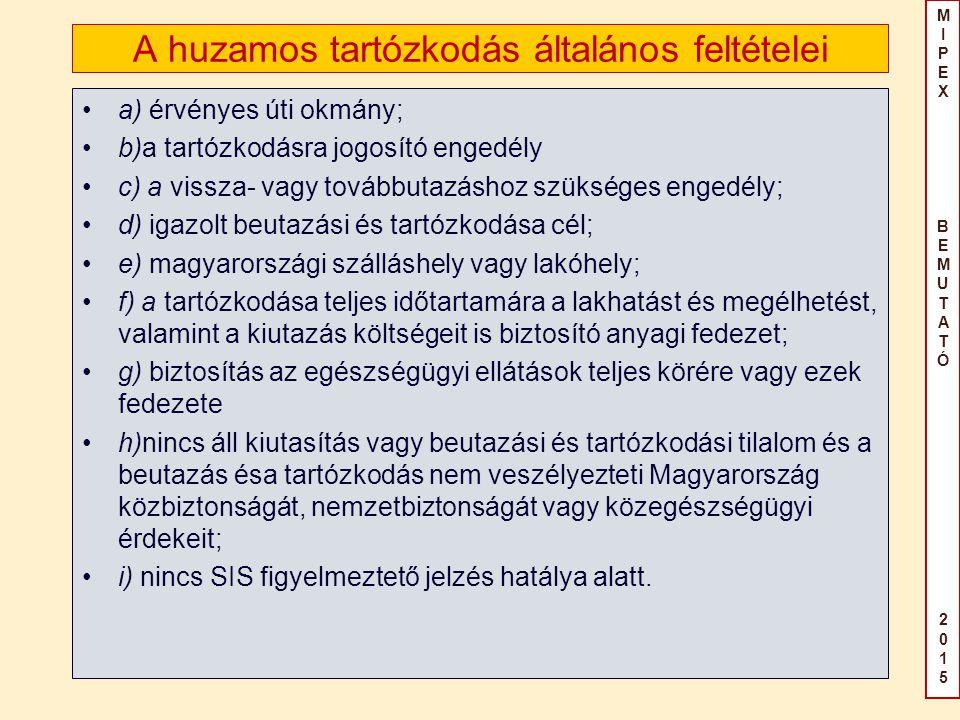 MIPEX BEMUTATÓ2015MIPEX BEMUTATÓ2015 A huzamos tartózkodás általános feltételei a) érvényes úti okmány; b)a tartózkodásra jogosító engedély c) a vissza- vagy továbbutazáshoz szükséges engedély; d) igazolt beutazási és tartózkodása cél; e) magyarországi szálláshely vagy lakóhely; f) a tartózkodása teljes időtartamára a lakhatást és megélhetést, valamint a kiutazás költségeit is biztosító anyagi fedezet; g) biztosítás az egészségügyi ellátások teljes körére vagy ezek fedezete h)nincs áll kiutasítás vagy beutazási és tartózkodási tilalom és a beutazás ésa tartózkodás nem veszélyezteti Magyarország közbiztonságát, nemzetbiztonságát vagy közegészségügyi érdekeit; i) nincs SIS figyelmeztető jelzés hatálya alatt.