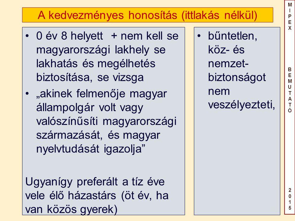 """MIPEX BEMUTATÓ2015MIPEX BEMUTATÓ2015 A kedvezményes honosítás (ittlakás nélkül) 0 év 8 helyett + nem kell se magyarországi lakhely se lakhatás és megélhetés biztosítása, se vizsga """"akinek felmenője magyar állampolgár volt vagy valószínűsíti magyarországi származását, és magyar nyelvtudását igazolja Ugyanígy preferált a tíz éve vele élő házastárs (öt év, ha van közös gyerek) bűntetlen, köz- és nemzet- biztonságot nem veszélyezteti,"""