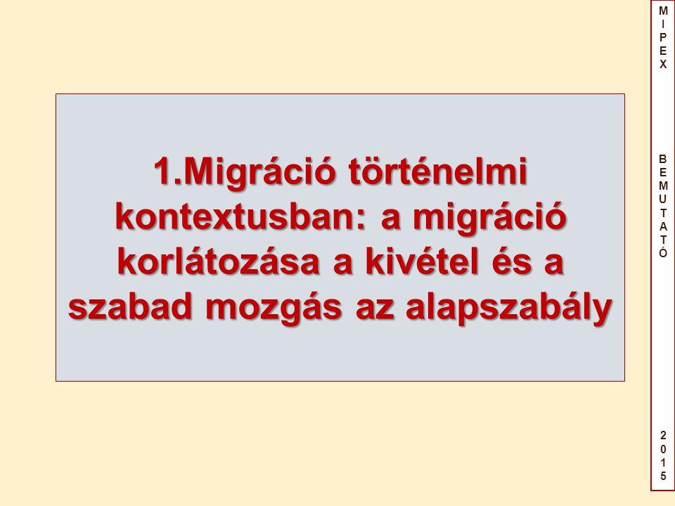 MIPEX BEMUTATÓ2015MIPEX BEMUTATÓ2015 A kiindulópont A kiindulópont a belépés és a tartózkodás teljes tilalma Belépés, kivételek: - egyedi vízum - szerződés – meghatározott kategóriákra Tartózkodás: csak engedéllyel: Feltételek - egyedi döntés (mérlegelés) - kötelező engedély