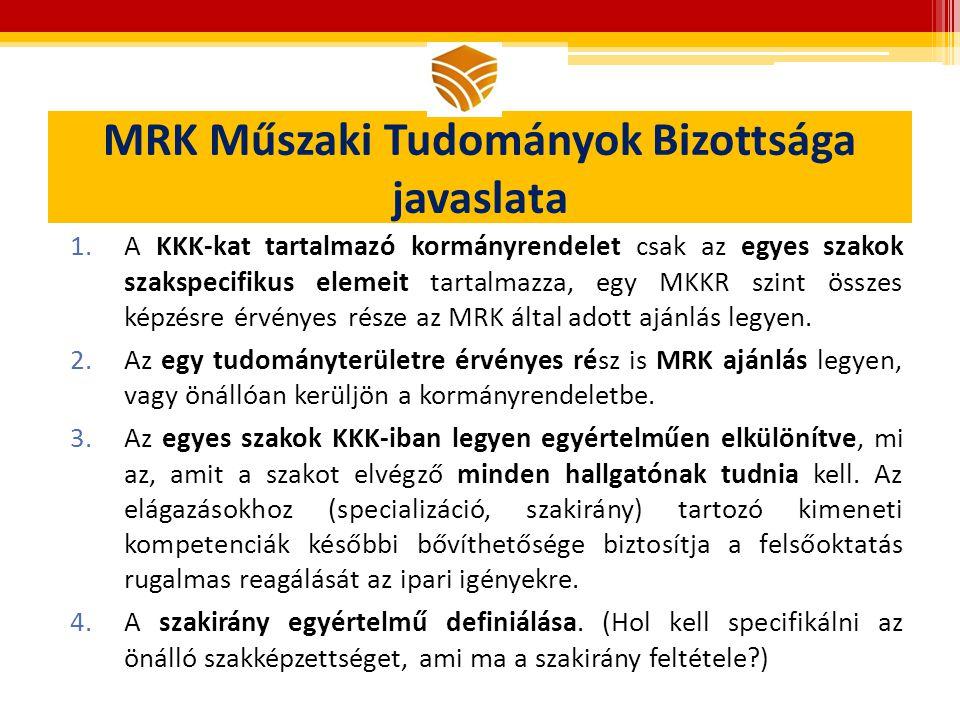 MRK Műszaki Tudományok Bizottsága javaslata 1.A KKK-kat tartalmazó kormányrendelet csak az egyes szakok szakspecifikus elemeit tartalmazza, egy MKKR szint összes képzésre érvényes része az MRK által adott ajánlás legyen.