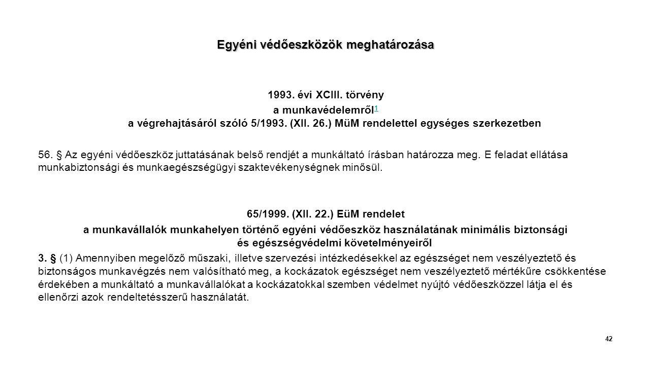 Egyéni védőeszközök meghatározása 1993.évi XCIII.