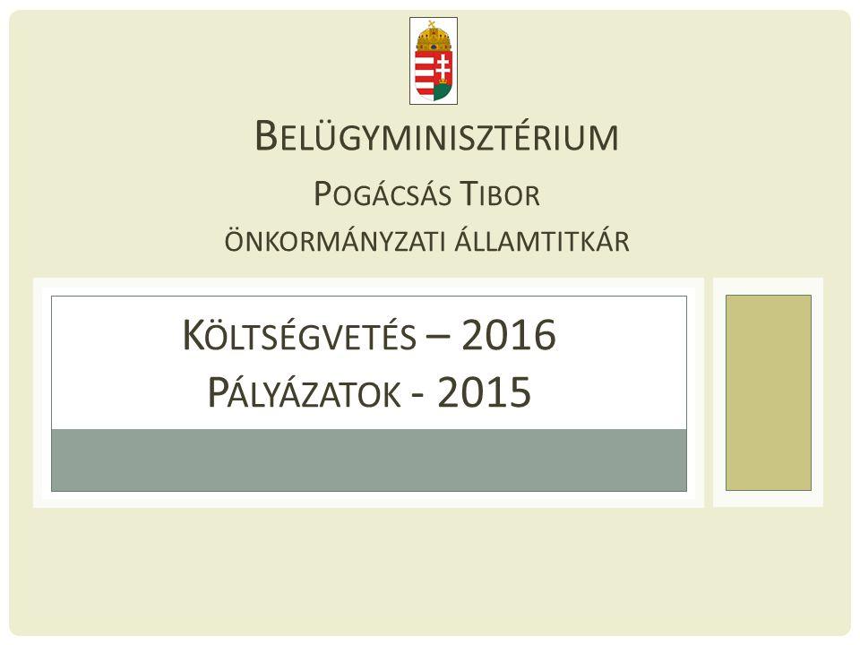 K ÖLTSÉGVETÉS – 2016 P ÁLYÁZATOK - 2015 B ELÜGYMINISZTÉRIUM P OGÁCSÁS T IBOR ÖNKORMÁNYZATI ÁLLAMTITKÁR