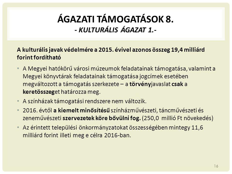 ÁGAZATI TÁMOGATÁSOK 8. - KULTURÁLIS ÁGAZAT 1.- A kulturális javak védelmére a 2015. évivel azonos összeg 19,4 milliárd forint fordítható A Megyei ható
