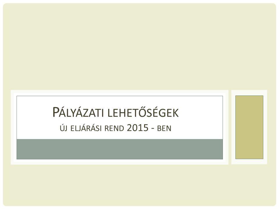 P ÁLYÁZATI LEHETŐSÉGEK ÚJ ELJÁRÁSI REND 2015 - BEN