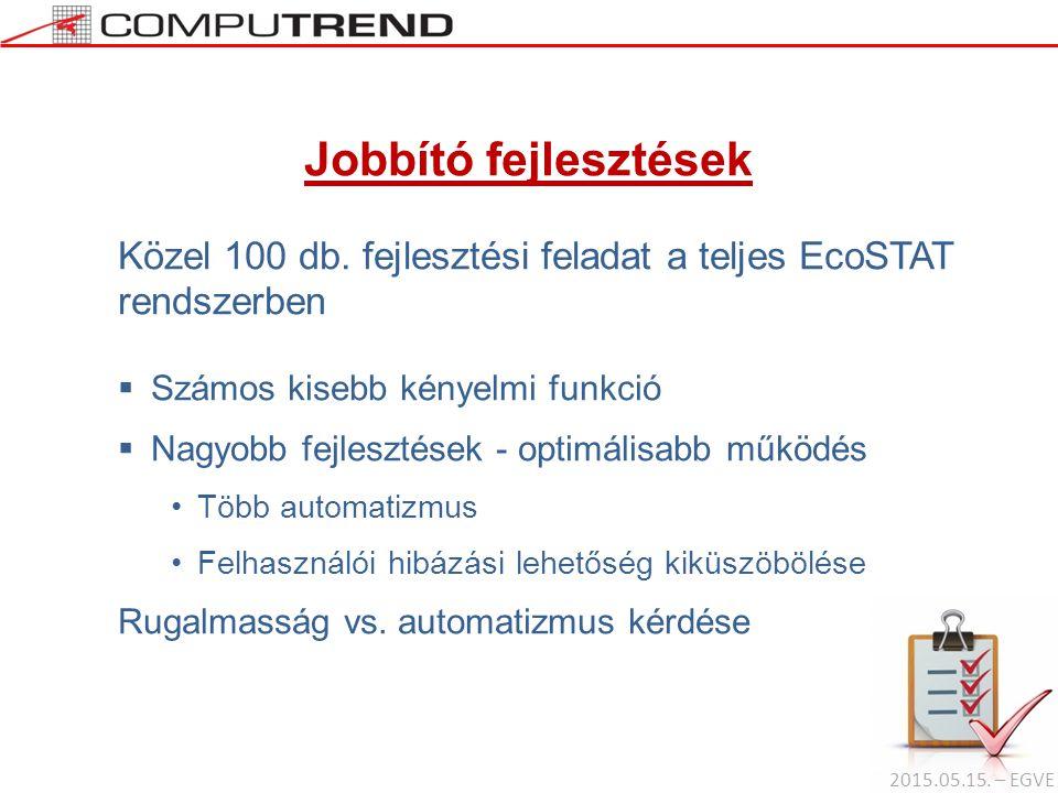 Jobbító fejlesztések Közel 100 db. fejlesztési feladat a teljes EcoSTAT rendszerben  Számos kisebb kényelmi funkció  Nagyobb fejlesztések - optimáli