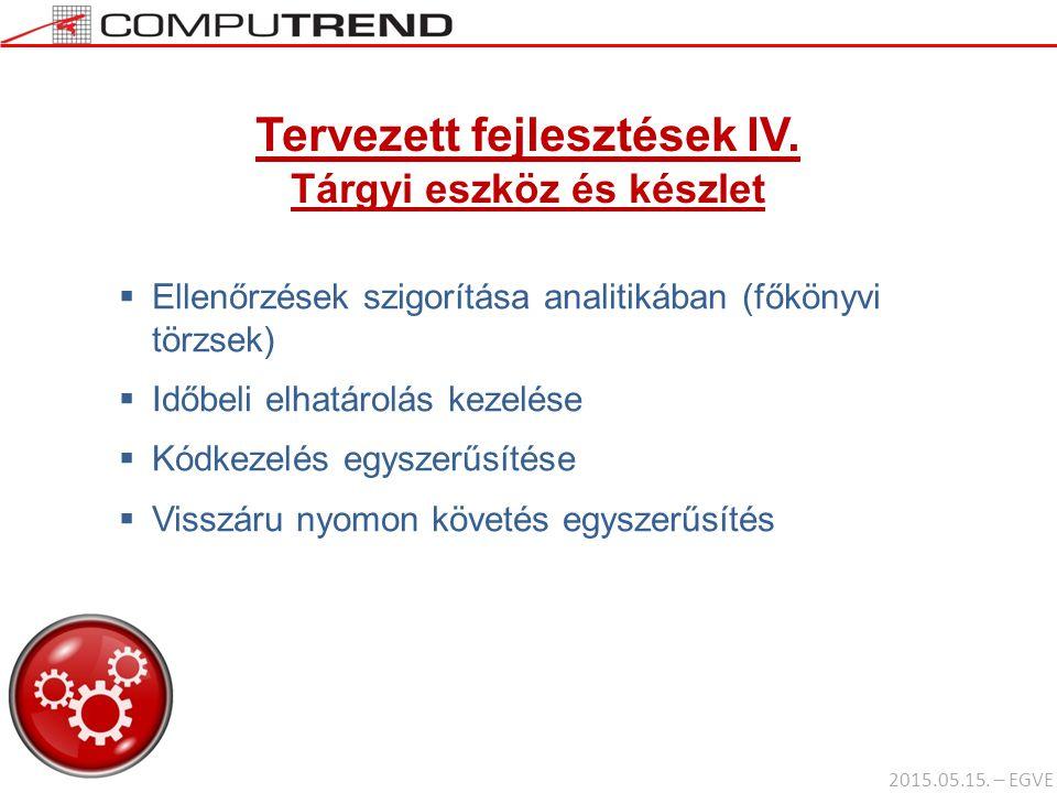 Tervezett fejlesztések IV. Tárgyi eszköz és készlet  Ellenőrzések szigorítása analitikában (főkönyvi törzsek)  Időbeli elhatárolás kezelése  Kódkez