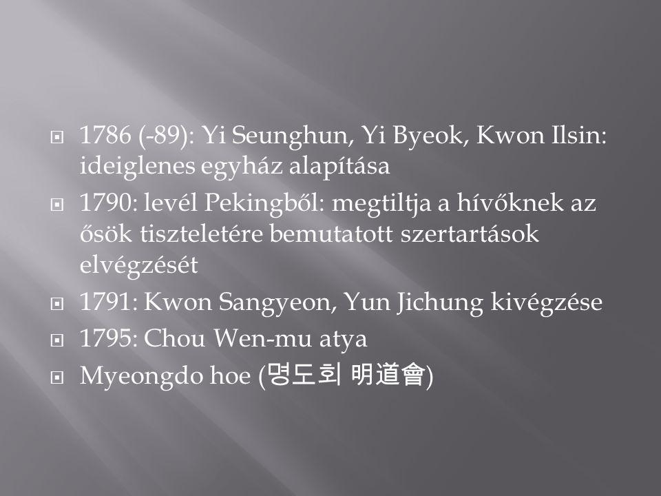  1786 (-89): Yi Seunghun, Yi Byeok, Kwon Ilsin: ideiglenes egyház alapítása  1790: levél Pekingből: megtiltja a hívőknek az ősök tiszteletére bemutatott szertartások elvégzését  1791: Kwon Sangyeon, Yun Jichung kivégzése  1795: Chou Wen-mu atya  Myeongdo hoe ( 명도회 明道會 )