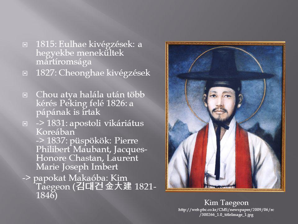  1815: Eulhae kivégzések: a hegyekbe menekültek mártíromsága  1827: Cheonghae kivégzések  Chou atya halála után több kérés Peking felé 1826: a pápának is írtak  -> 1831: apostoli vikáriátus Koreában -> 1837: püspökök: Pierre Philibert Maubant, Jacques- Honore Chastan, Laurent Marie Joseph Imbert -> papokat Makaóba: Kim Taegeon ( 김대건 金大建 1821- 1846) Kim Taegeon http://web.pbc.co.kr/CMS/newspaper/2009/06/rc /300266_1.0_titleImage_1.jpg