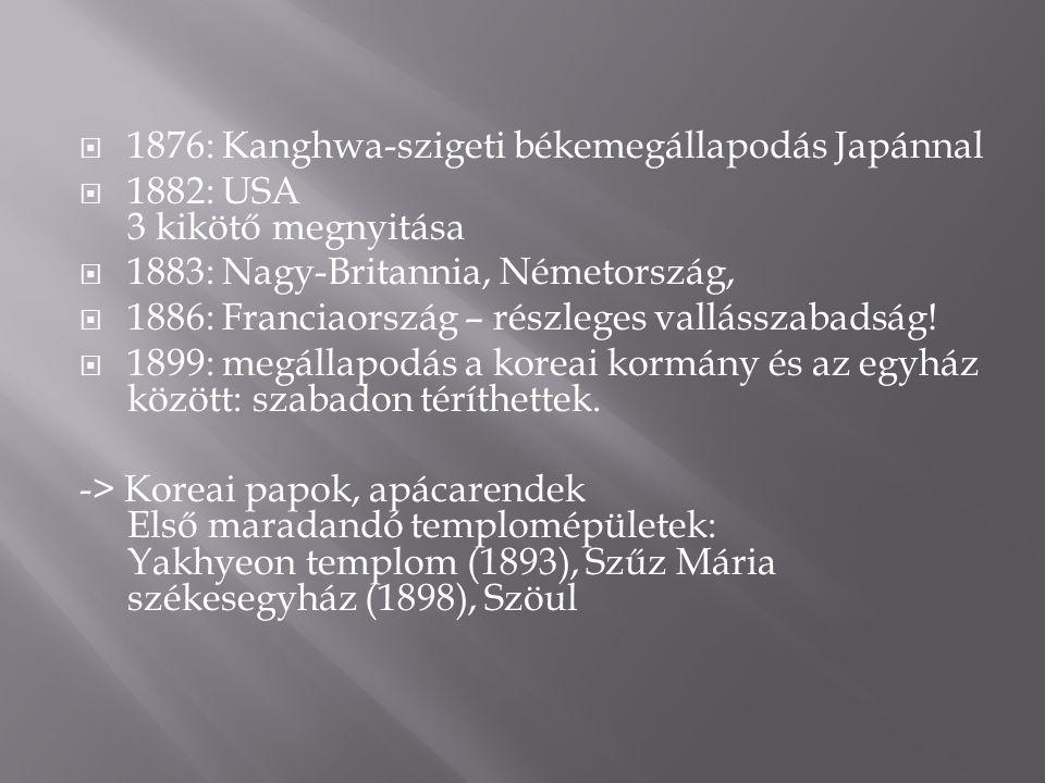  1876: Kanghwa-szigeti békemegállapodás Japánnal  1882: USA 3 kikötő megnyitása  1883: Nagy-Britannia, Németország,  1886: Franciaország – részleges vallásszabadság.