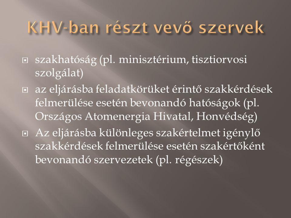  szakhatóság (pl. minisztérium, tisztiorvosi szolgálat)  az eljárásba feladatkörüket érintő szakkérdések felmerülése esetén bevonandó hatóságok (pl.