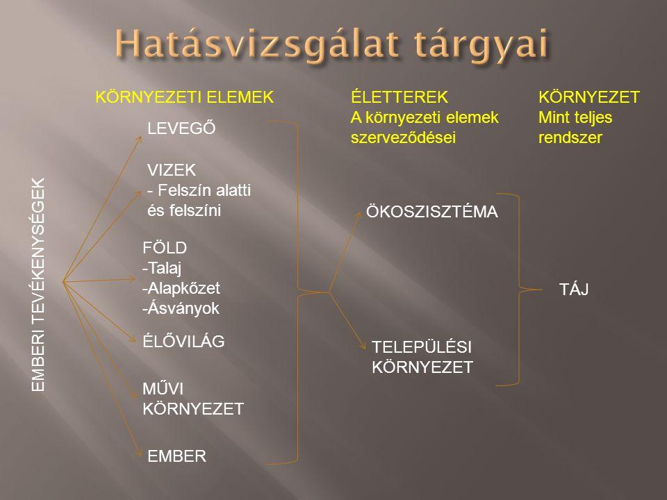  Hatótényező: Vizsgált tevékenység azon része, amely a környezeti elemek/rendszerek állapotváltozásának, hatásoknak az okaként tekinthető → Anyag- vagy energiakibocsátások és/vagy elvonások - Szennyezőanyag kibocsátás - Zaj és rezgés, sugárzás - Élőhelyek megszűntetése, létrehozása - Természeti erőforrások készletváltozása - Művi elemek létesítése - Területhasználat megváltozása