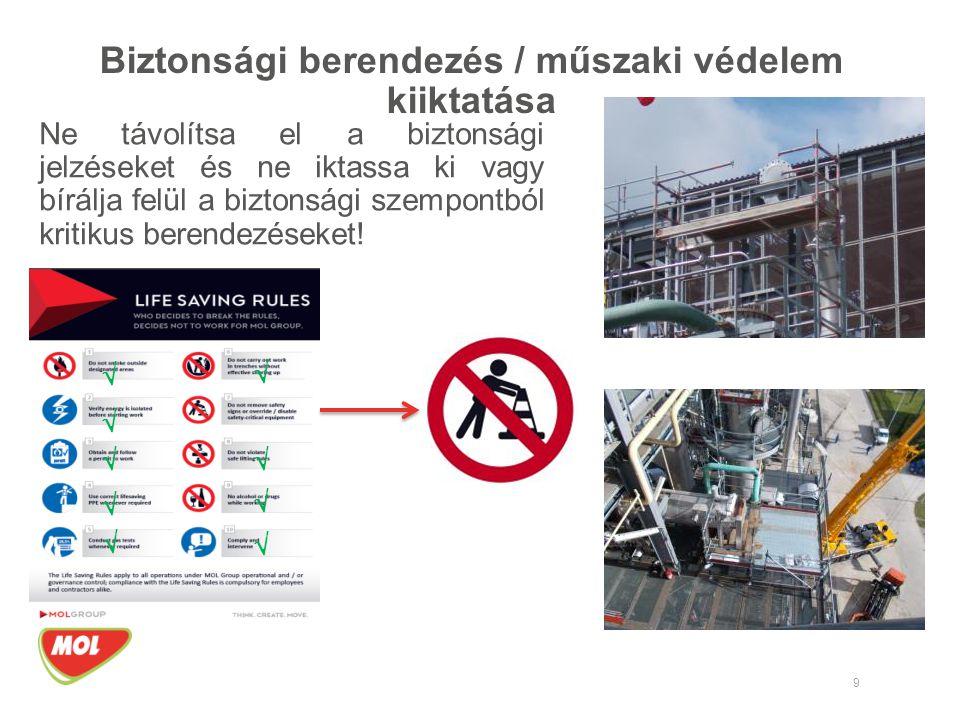 9 Biztonsági berendezés / műszaki védelem kiiktatása Ne távolítsa el a biztonsági jelzéseket és ne iktassa ki vagy bírálja felül a biztonsági szempont