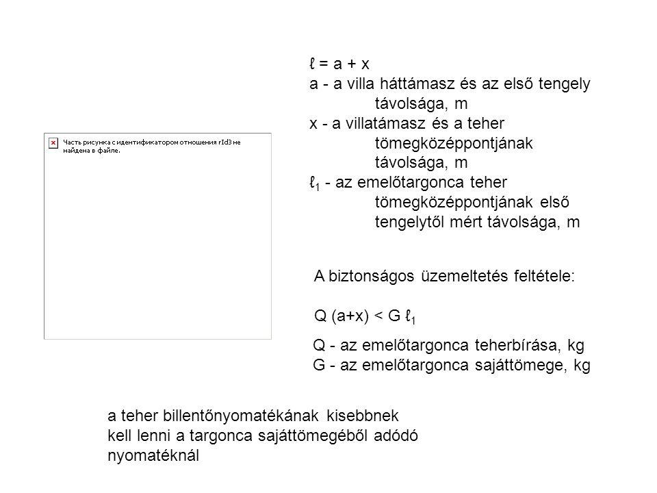 ℓ = a + x a - a villa háttámasz és az első tengely távolsága, m x - a villatámasz és a teher tömegközéppontjának távolsága, m ℓ 1 - az emelőtargonca t