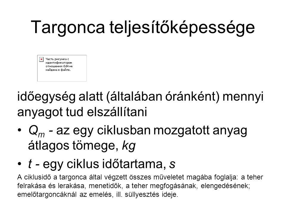 Targonca teljesítőképessége időegység alatt (általában óránként) mennyi anyagot tud elszállítani Q m - az egy ciklusban mozgatott anyag átlagos tömege