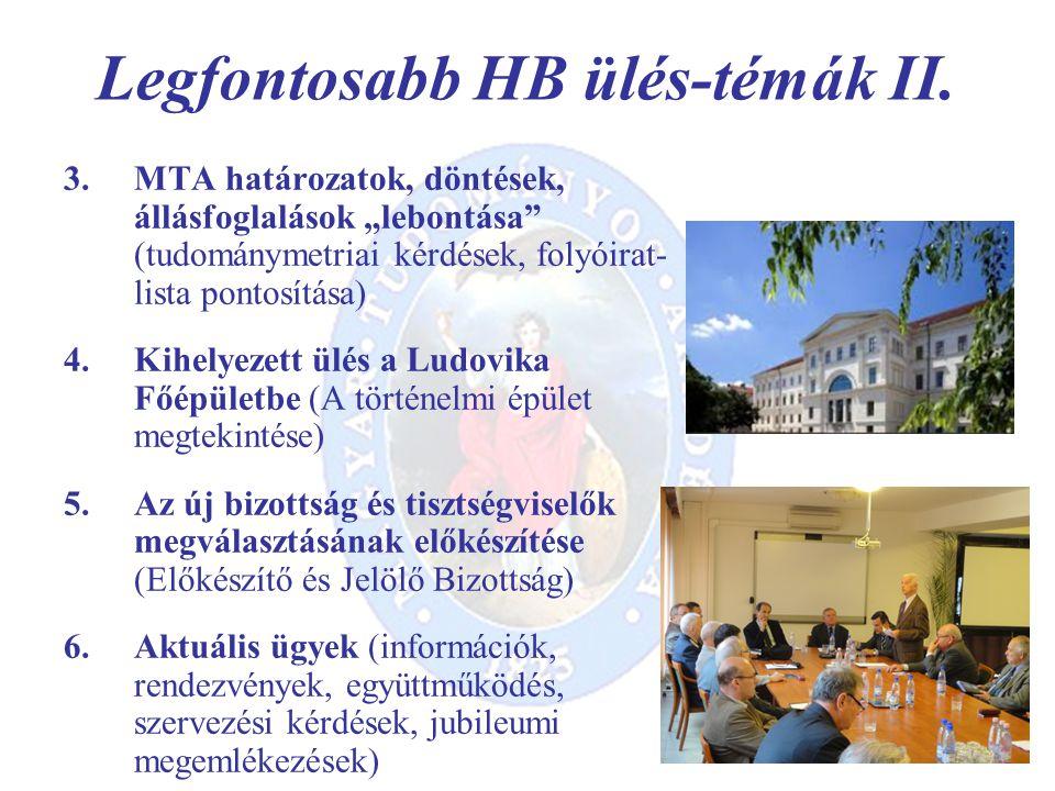 Legfontosabb HB ülés-témák II.