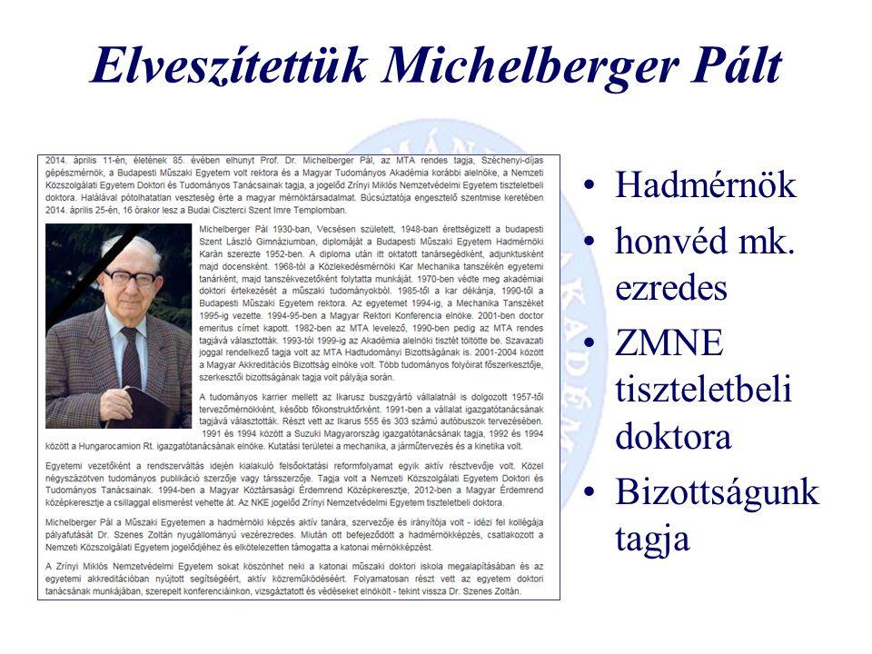 Elveszítettük Michelberger Pált Hadmérnök honvéd mk.