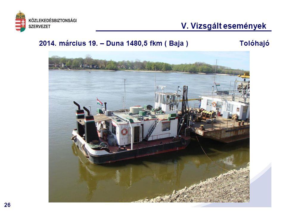 26 V. Vizsgált események 2014. március 19. – Duna 1480,5 fkm ( Baja )Tolóhajó