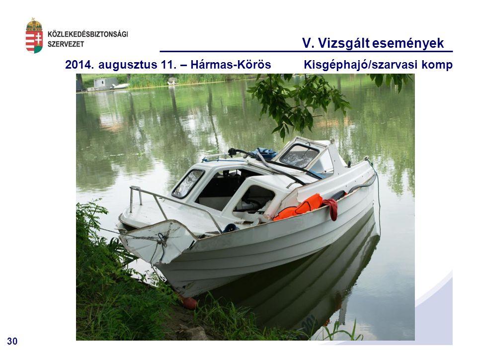 30 V. Vizsgált események 2014. augusztus 11. – Hármas-KörösKisgéphajó/szarvasi komp