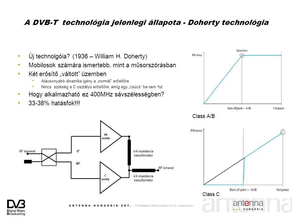 A DVB-T technológia jelenlegi állapota - Doherty technológia Új technolgóia? (1936 – William H. Doherty) Mobilosok számára ismertebb, mint a műsorszór