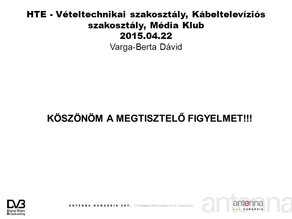 HTE - Vételtechnikai szakosztály, Kábeltelevíziós szakosztály, Média Klub 2015.04.22 Varga-Berta Dávid KÖSZÖNÖM A MEGTISZTELŐ FIGYELMET!!!