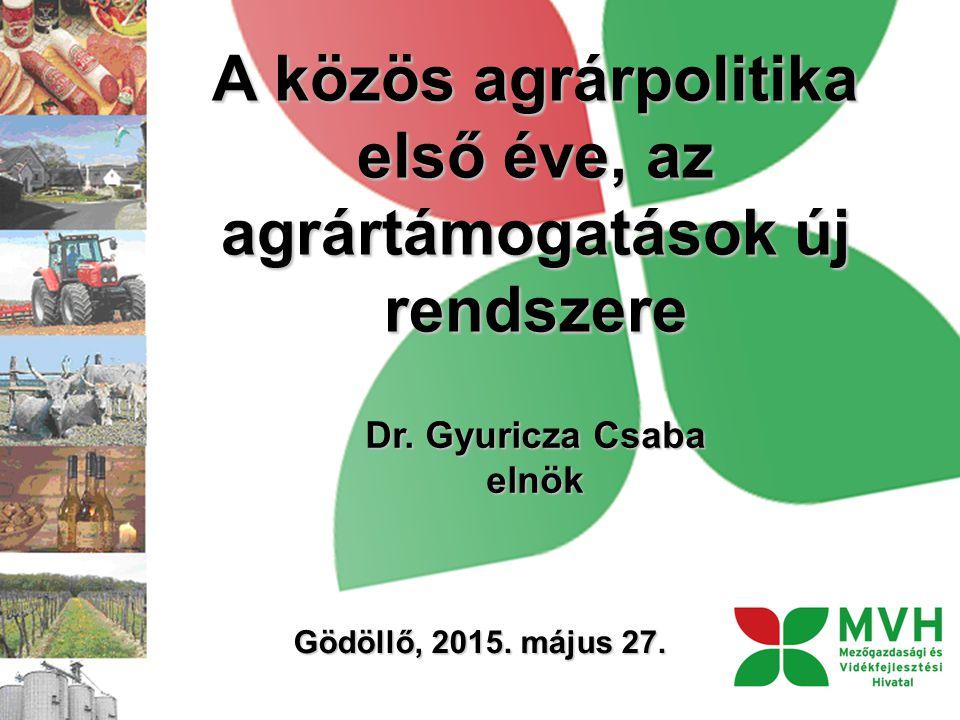 A közös agrárpolitika első éve, az agrártámogatások új rendszere Dr. Gyuricza Csaba elnök Gödöllő, 2015. május 27.