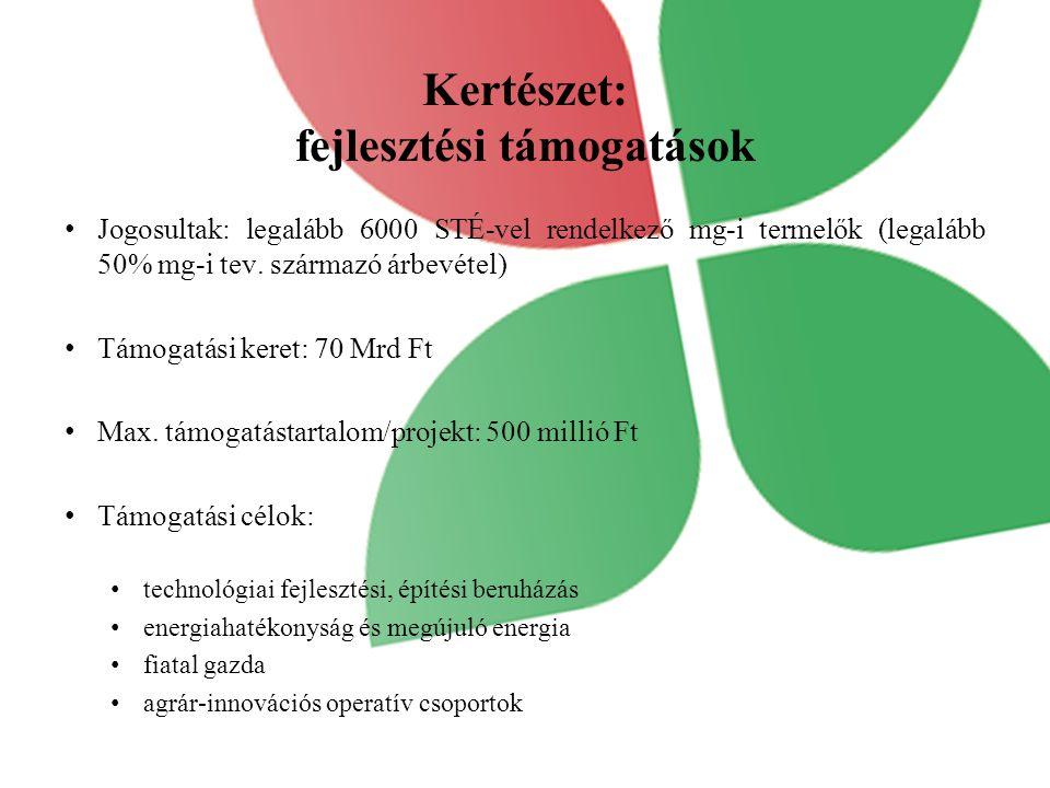 Kertészet: fejlesztési támogatások Jogosultak: legalább 6000 STÉ-vel rendelkező mg-i termelők (legalább 50% mg-i tev. származó árbevétel) Támogatási k