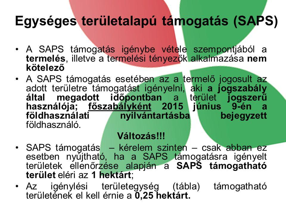 Egységes területalapú támogatás (SAPS) A SAPS támogatás igénybe vétele szempontjából a termelés, illetve a termelési tényezők alkalmazása nem kötelező