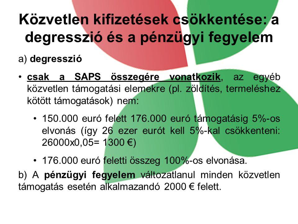 A zöldítési támogatás  Kötelező a SAPS igénylők számára  Hektáronkénti becsült összege 80 EUR  A kölcsönös megfeleltetés követelményein túlmutat  Az ökológiai gazdálkodást folytató üzemnek az a táblája, amelyen ilyen gazdálkodás folyik, vagy átállás alatt áll, mentesül a zöldítés alól:  Összes területükön ökológiai gazdálkodást folytatók mentesülnek a követelmények betartása alól  Részben ökológiai gazdálkodást folytatóknál az ökológiai gazdálkodásba nem vont táblákra kell vonatkoztatni a követelményeket.