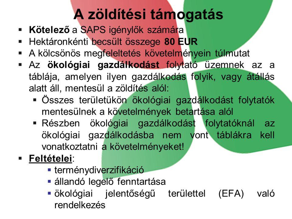 A zöldítési támogatás  Kötelező a SAPS igénylők számára  Hektáronkénti becsült összege 80 EUR  A kölcsönös megfeleltetés követelményein túlmutat 
