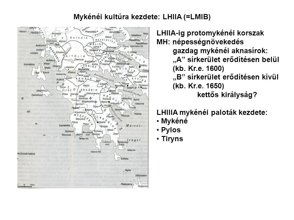 """Mykénéi kultúra kezdete: LHIIA (=LMIB) LHIIA-ig protomykénéi korszak MH: népességnövekedés gazdag mykénéi aknasírok: """"A sírkerület erődítésen belül (kb."""