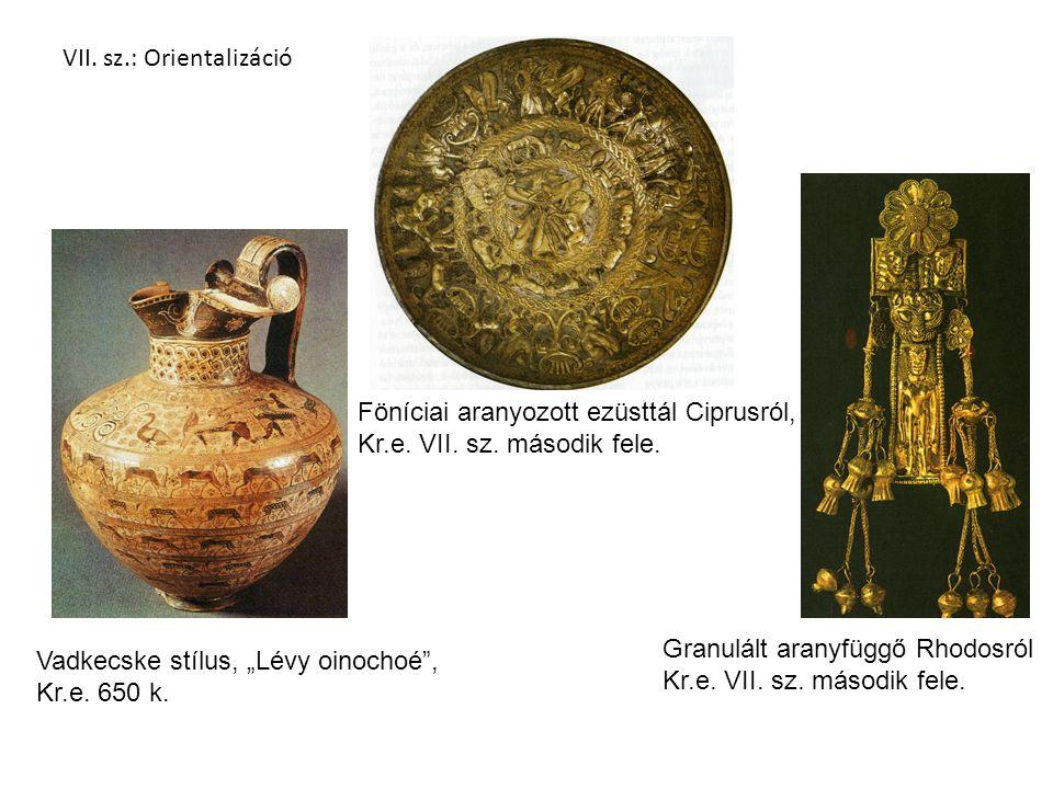 """Vadkecske stílus, """"Lévy oinochoé , Kr.e.650 k. Föníciai aranyozott ezüsttál Ciprusról, Kr.e."""