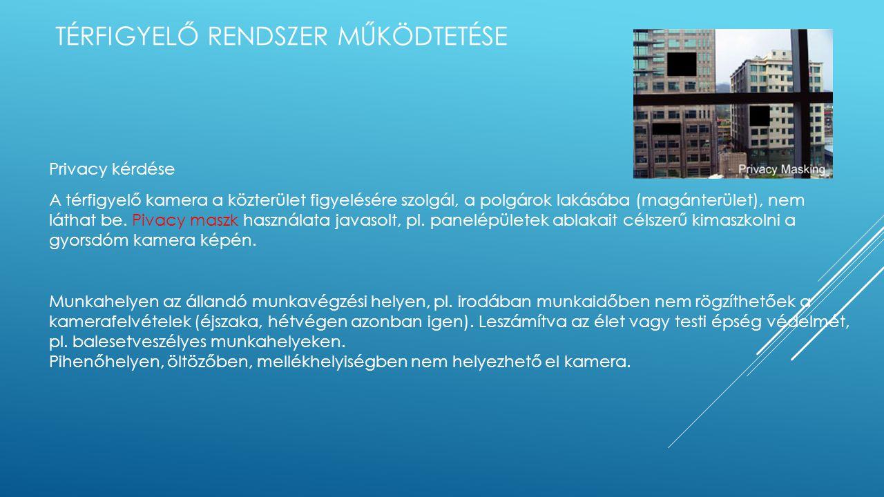 TÉRFIGYELŐ RENDSZER MŰKÖDTETÉSE Privacy kérdése A térfigyelő kamera a közterület figyelésére szolgál, a polgárok lakásába (magánterület), nem láthat be.