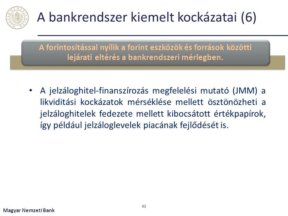 A bankrendszer kiemelt kockázatai (6) A forintosítással nyílik a forint eszközök és források közötti lejárati eltérés a bankrendszeri mérlegben. Magya