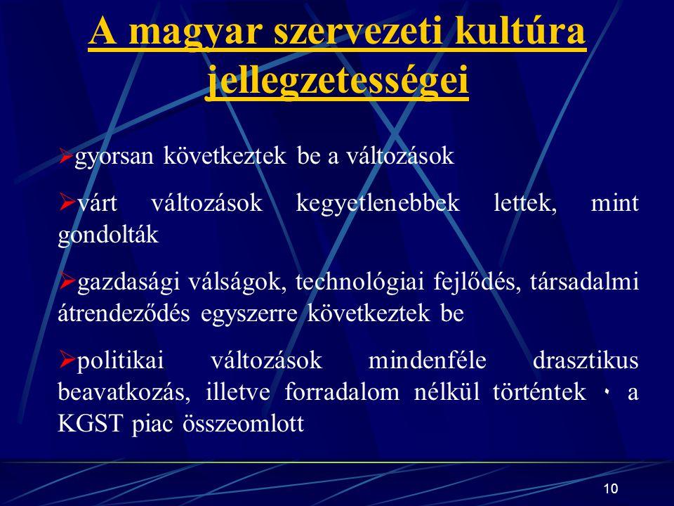 10 A magyar szervezeti kultúra jellegzetességei  gyorsan következtek be a változások  várt változások kegyetlenebbek lettek, mint gondolták  gazdasági válságok, technológiai fejlődés, társadalmi átrendeződés egyszerre következtek be  politikai változások mindenféle drasztikus beavatkozás, illetve forradalom nélkül történtek ۰ a KGST piac összeomlott