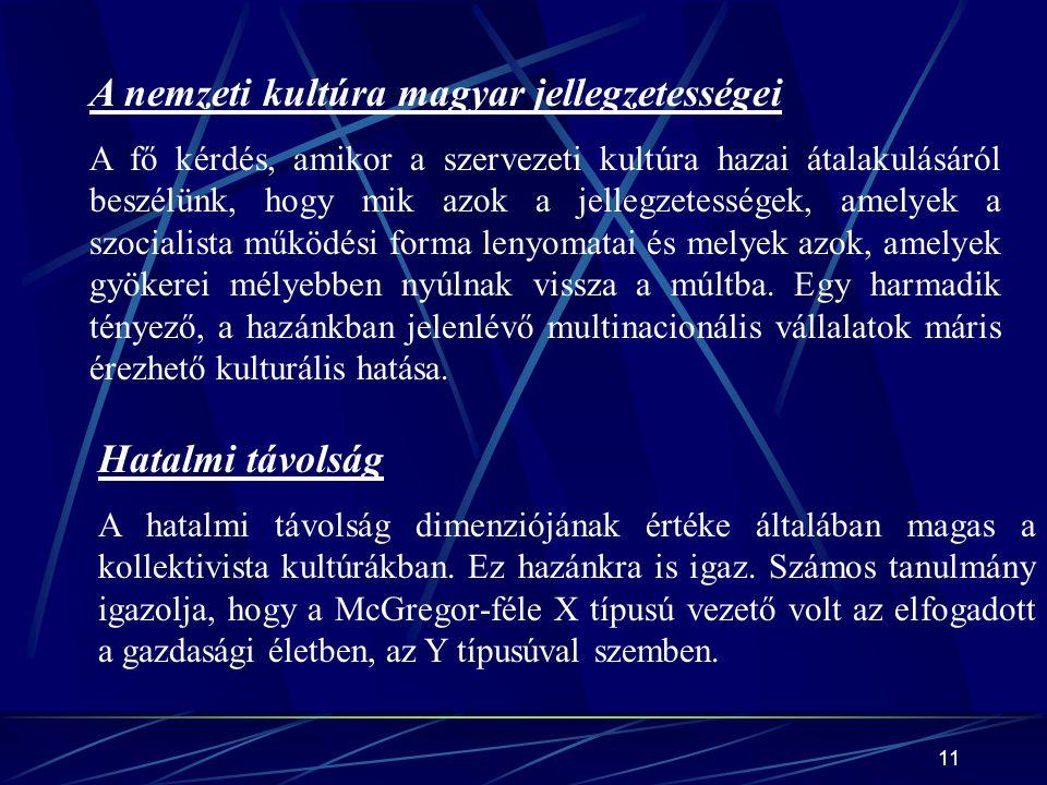 11 A nemzeti kultúra magyar jellegzetességei A fő kérdés, amikor a szervezeti kultúra hazai átalakulásáról beszélünk, hogy mik azok a jellegzetességek, amelyek a szocialista működési forma lenyomatai és melyek azok, amelyek gyökerei mélyebben nyúlnak vissza a múltba.