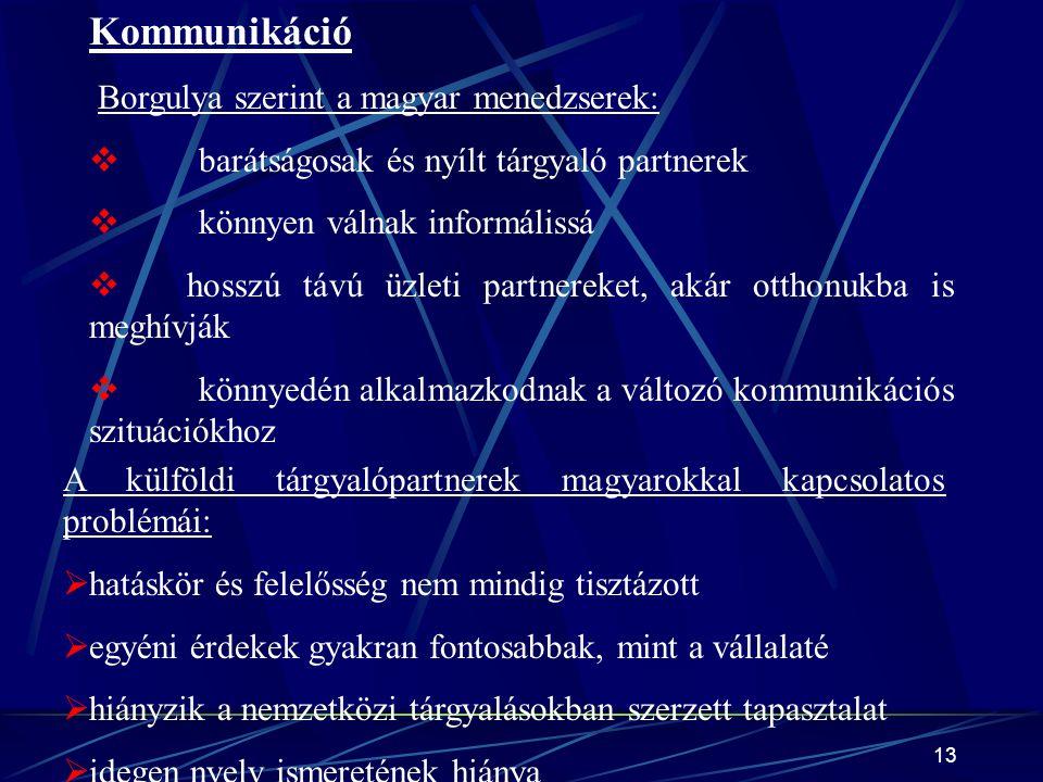 13 Kommunikáció Borgulya szerint a magyar menedzserek:  barátságosak és nyílt tárgyaló partnerek  könnyen válnak informálissá  hosszú távú üzleti partnereket, akár otthonukba is meghívják  könnyedén alkalmazkodnak a változó kommunikációs szituációkhoz A külföldi tárgyalópartnerek magyarokkal kapcsolatos problémái:  hatáskör és felelősség nem mindig tisztázott  egyéni érdekek gyakran fontosabbak, mint a vállalaté  hiányzik a nemzetközi tárgyalásokban szerzett tapasztalat  idegen nyelv ismeretének hiánya