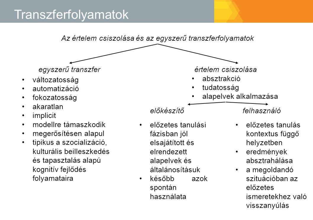 Transzferfolyamatok Az értelem csiszolása és az egyszerű transzferfolyamatok egyszerű transzferértelem csiszolása változatosság automatizáció fokozato