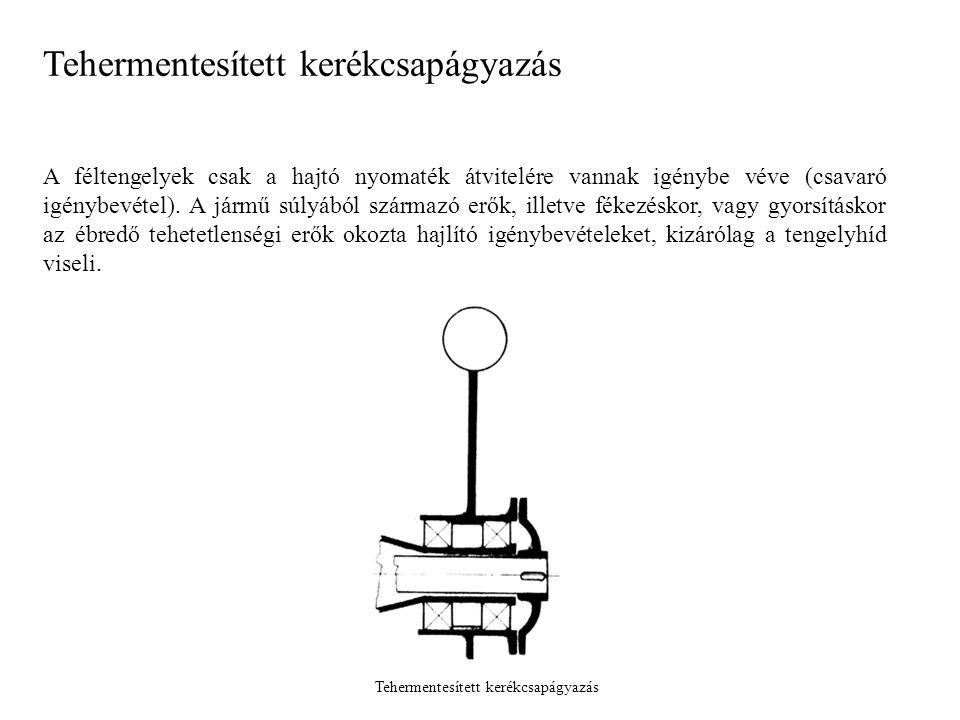 A féltengelyek csak a hajtó nyomaték átvitelére vannak igénybe véve (csavaró igénybevétel). A jármű súlyából származó erők, illetve fékezéskor, vagy g