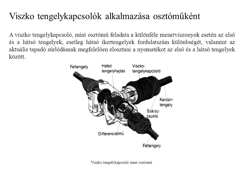 Viszko tengelykapcsolók alkalmazása osztóműként A viszko tengelykapcsoló, mint osztómű feladata a különféle menetviszonyok esetén az első és a hátsó t