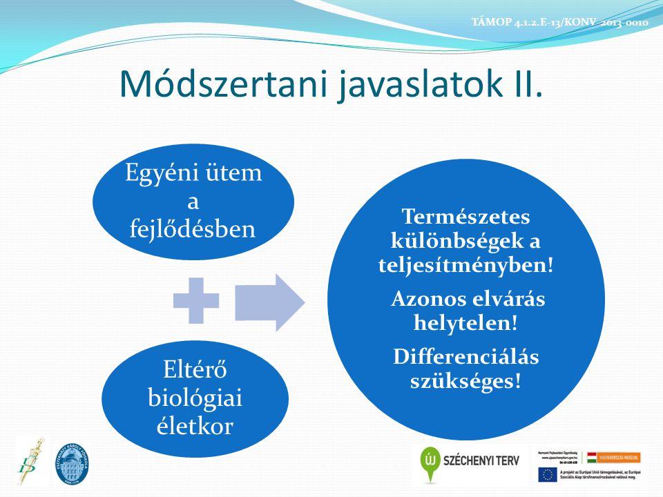 Módszertani ALAPELVEK, azaz a minőségi testnevelés: Egészségorientált Fókuszban az egészséghez szükséges ismeretek átadásával Fejlettségközpontú Felismeri a különbségeket – differenciáló szemléletű Tanulásközpontú Középpontban az egyéni tanulási teljesítménnyel TÁMOP 4.1.2.E-13/KONV-2013-0010