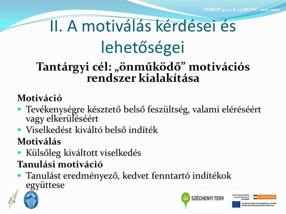 A tanulók testmozgással kapcsolatos motivációi Új készségek tanulása Fittségi állapot, külcsín Versenyláz Csapattag lehet Funkcionális késztetés Mozgáskészség fejlődés Öröm és élmények Ewing és Seefeldt (1989) TÁMOP 4.1.2.E-13/KONV-2013-0010